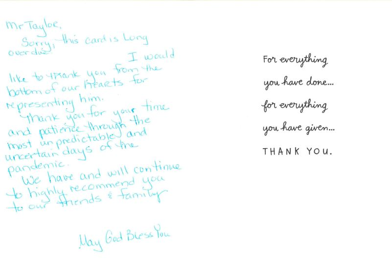 Michael Taylor Thank you Card
